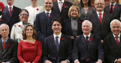 Canada's new Prime Minister Justin Trudeau (bottom row C) poses with his cabinet after their swearing-in ceremony at Rideau Hall in Ottawa on November 4, 2015. AFP PHOTO/POOL/CHRIS WATTIECHRIS WATTIE/AFP/Getty Images